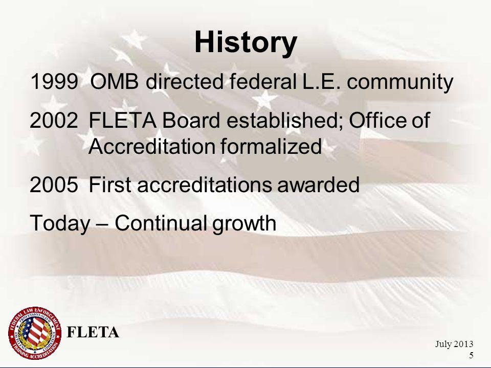 FLETA July 2013 5 History 1999 OMB directed federal L.E.