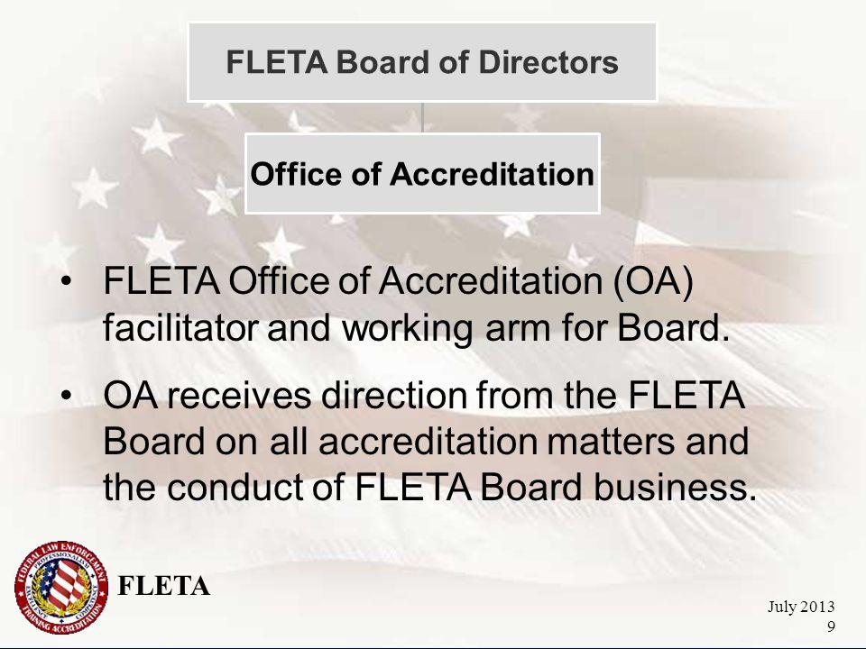 FLETA July 2013 9 FLETA Board of Directors Office of Accreditation FLETA Office of Accreditation (OA) facilitator and working arm for Board.