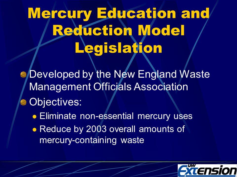 Mercury Reduction Legislative Trends National/regional mercury model legislation Local, community-based approaches