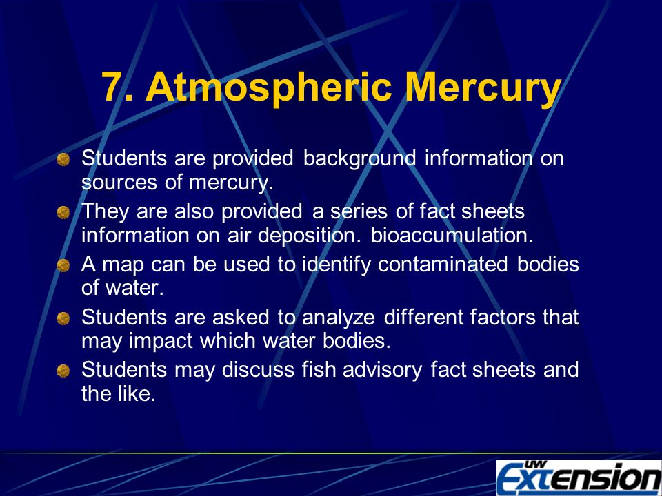 6. Mercury In The Food Chain Enhances understanding of food webs, nutrient cycles and bioaccumulation and their interactions Students create a food we