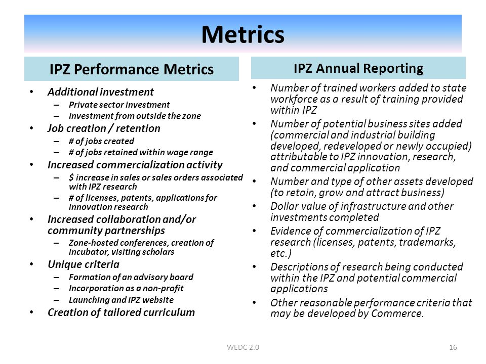 Metrics IPZ Annual Reporting Number of trained workers added to state workforce as a result of training provided within IPZ Number of potential business sites added (commercial and industrial building developed, redeveloped or newly occupied) attributable to IPZ innovation, research, and commercial application Number and type of other assets developed (to retain, grow and attract business) Dollar value of infrastructure and other investments completed Evidence of commercialization of IPZ research (licenses, patents, trademarks, etc.) Descriptions of research being conducted within the IPZ and potential commercial applications Other reasonable performance criteria that may be developed by Commerce.