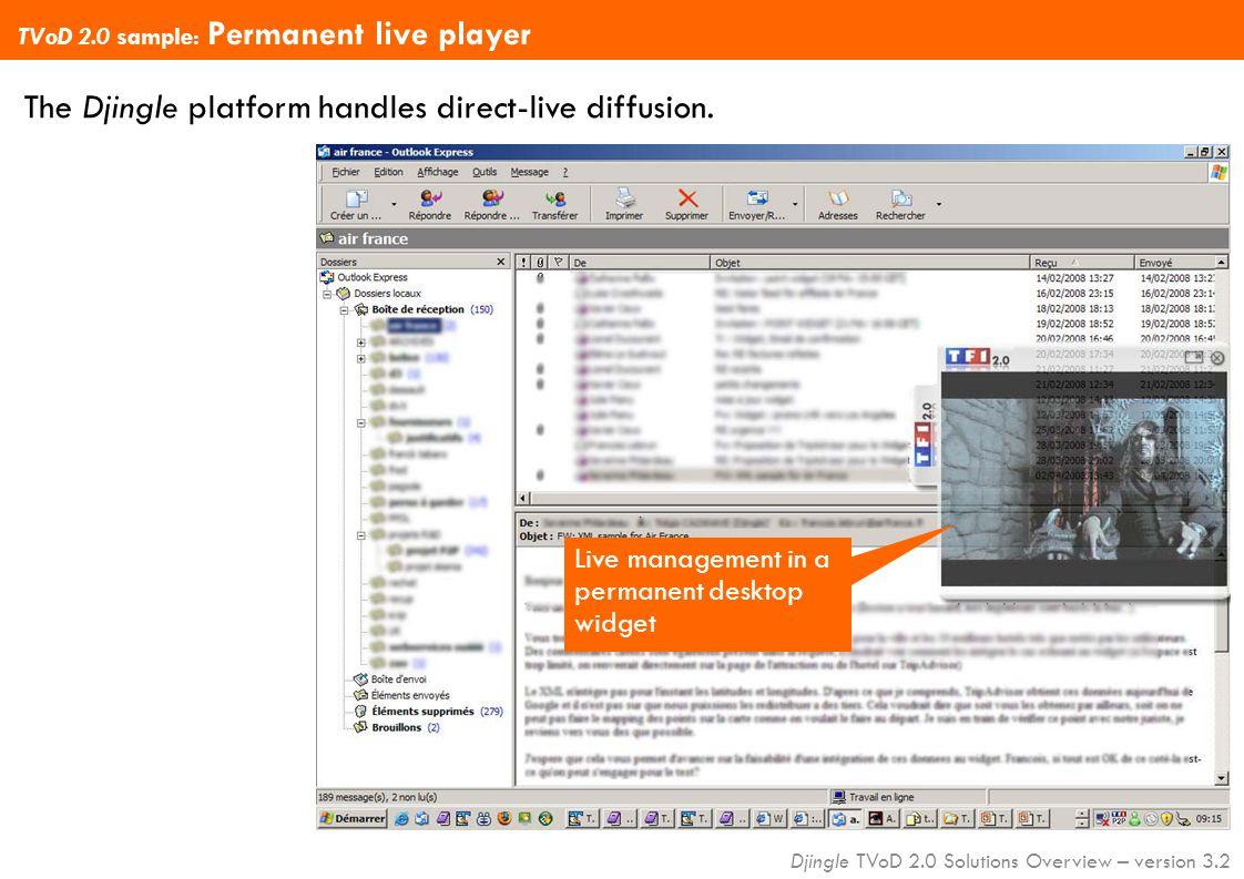 Djingle TVoD 2.0 Solutions Overview – version 3.2 The Djingle platform handles direct-live diffusion.