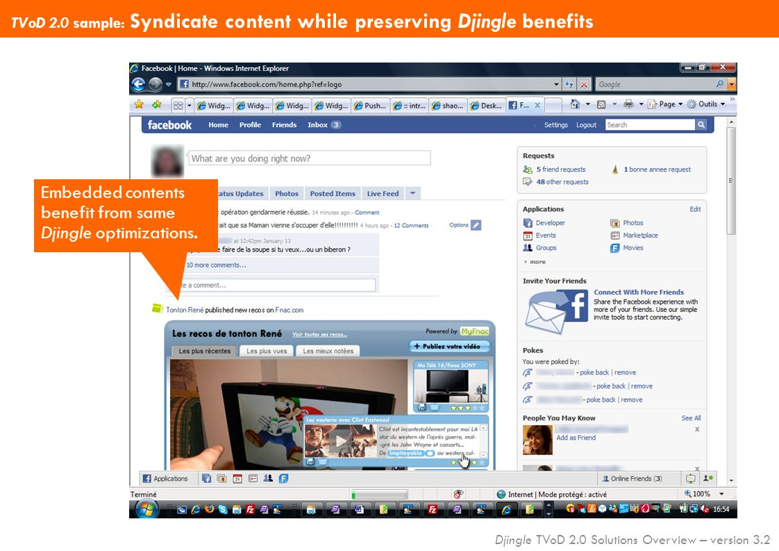 Djingle TVoD 2.0 Solutions Overview – version 3.2 TVoD 2.0 sample: Syndicate content while preserving Djingle benefits Embedded contents benefit from