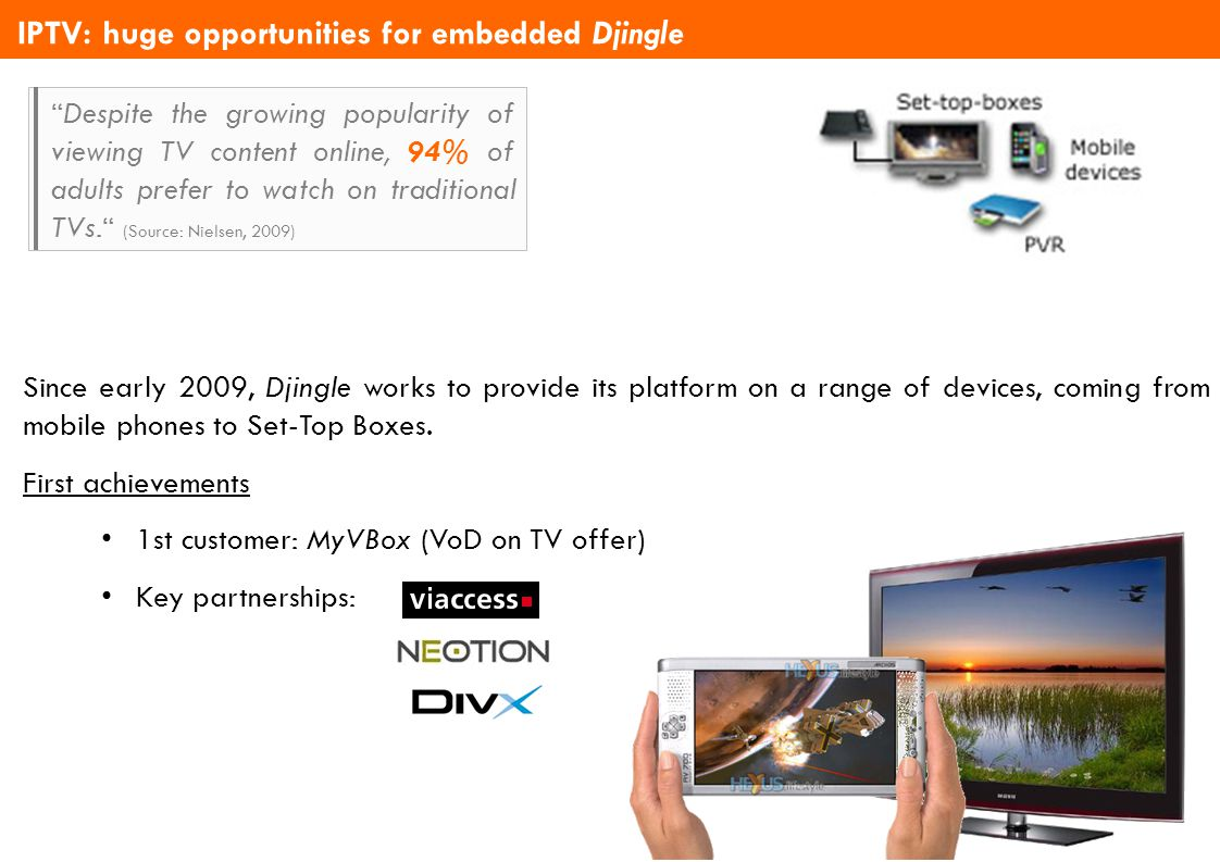 Djingle TVoD 2.0 Solutions Overview – version 3.2 IPTV: huge opportunities for embedded Djingle Since early 2009, Djingle works to provide its platfor
