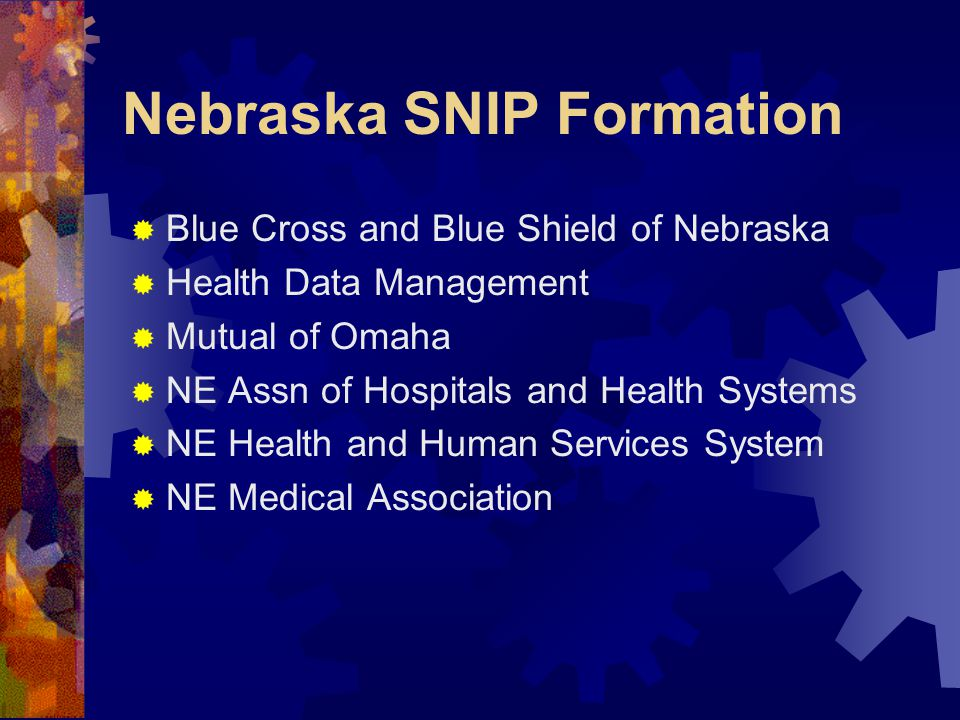 Nebraska SNIP Formation  Blue Cross and Blue Shield of Nebraska  Health Data Management  Mutual of Omaha  NE Assn of Hospitals and Health Systems  NE Health and Human Services System  NE Medical Association