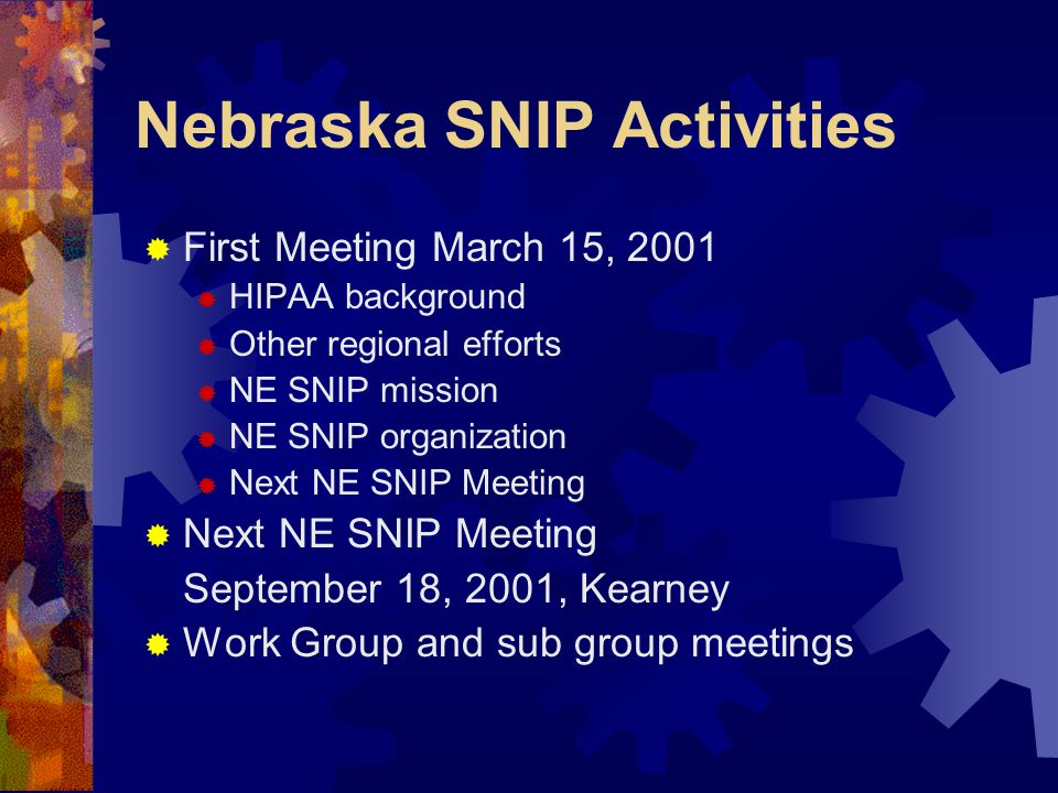 Nebraska SNIP Activities  First Meeting March 15, 2001  HIPAA background  Other regional efforts  NE SNIP mission  NE SNIP organization  Next NE SNIP Meeting September 18, 2001, Kearney  Work Group and sub group meetings