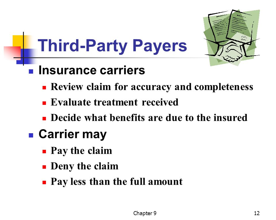 Chapter 912 Third-Party Payers Insurance carriers Review claim for accuracy and completeness Evaluate treatment received Decide what benefits are due