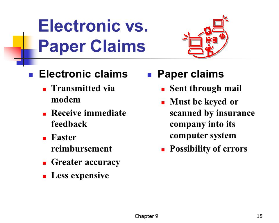 Chapter 918 Electronic vs. Paper Claims Electronic claims Transmitted via modem Receive immediate feedback Faster reimbursement Greater accuracy Less