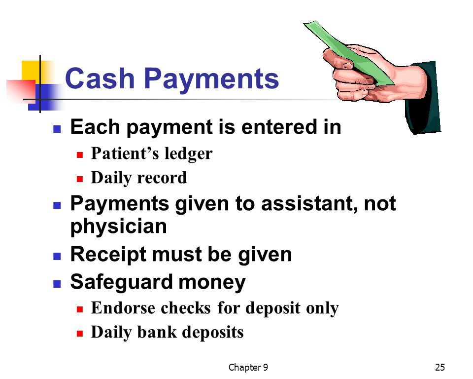 Chapter 925 Cash Payments Each payment is entered in Patient's ledger Daily record Payments given to assistant, not physician Receipt must be given Sa