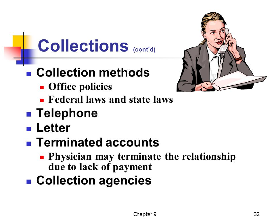 Chapter 932 Collections (cont'd) Collection methods Office policies Federal laws and state laws Telephone Letter Terminated accounts Physician may ter