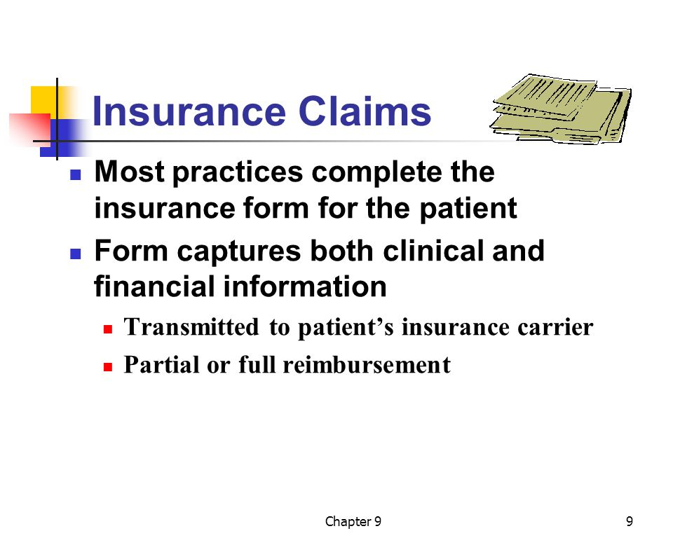 Chapter 910 The CMS-1500 Claim Form Most common paper claim form Prepared by medical insurance specialist Data is collected from Patient information form Patient encounter form Transmitted via mail