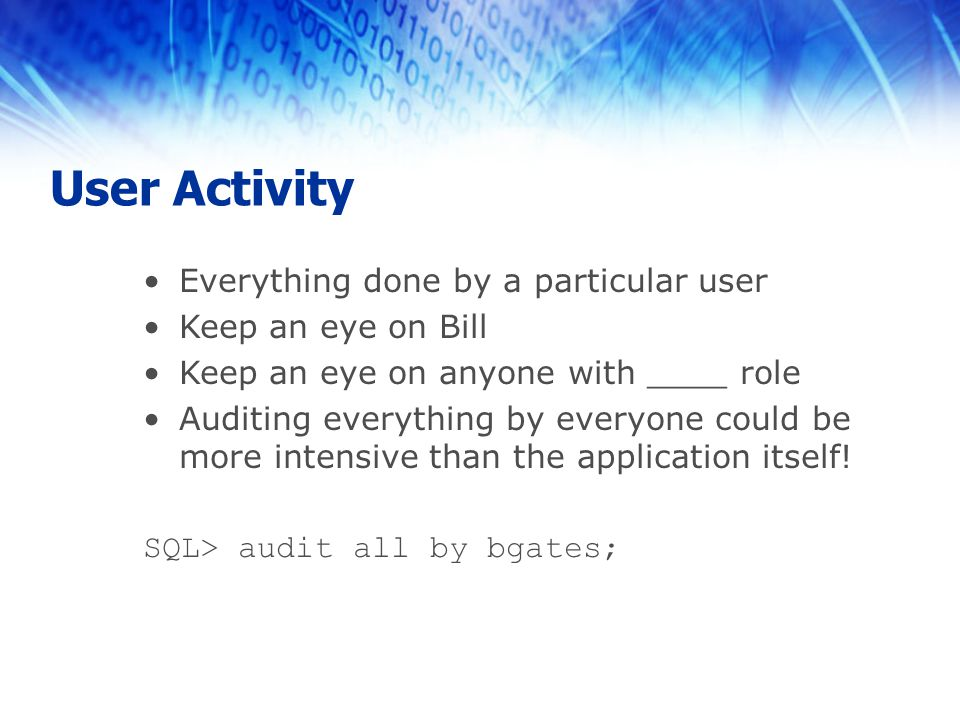 User Activity Everything done by a particular user Keep an eye on Bill Keep an eye on anyone with ____ role Auditing everything by everyone could be more intensive than the application itself.