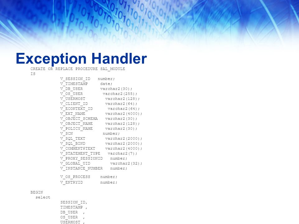Exception Handler CREATE OR REPLACE PROCEDURE SAL_MODULE IS V_SESSION_ID number; V_TIMESTAMP date; V_DB_USER varchar2(30); V_OS_USER varchar2(255); V_USERHOST varchar2(128); V_CLIENT_ID varchar2(64); V_ECONTEXT_ID varchar2(64); V_EXT_NAME varchar2(4000); V_OBJECT_SCHEMA varchar2(30); V_OBJECT_NAME varchar2(128); V_POLICY_NAME varchar2(30); V_SCN number; V_SQL_TEXT varchar2(2000); V_SQL_BIND varchar2(2000); V_COMMENT$TEXT varchar2(4000); V_STATEMENT_TYPE varchar2(7); V_PROXY_SESSIONID number; V_GLOBAL_UID varchar2(32); V_INSTANCE_NUMBER number; V_OS_PROCESS number; V_ENTRYID number; BEGIN select SESSION_ID, TIMESTAMP, DB_USER, OS_USER, USERHOST, CLIENT_ID, EXT_NAME,