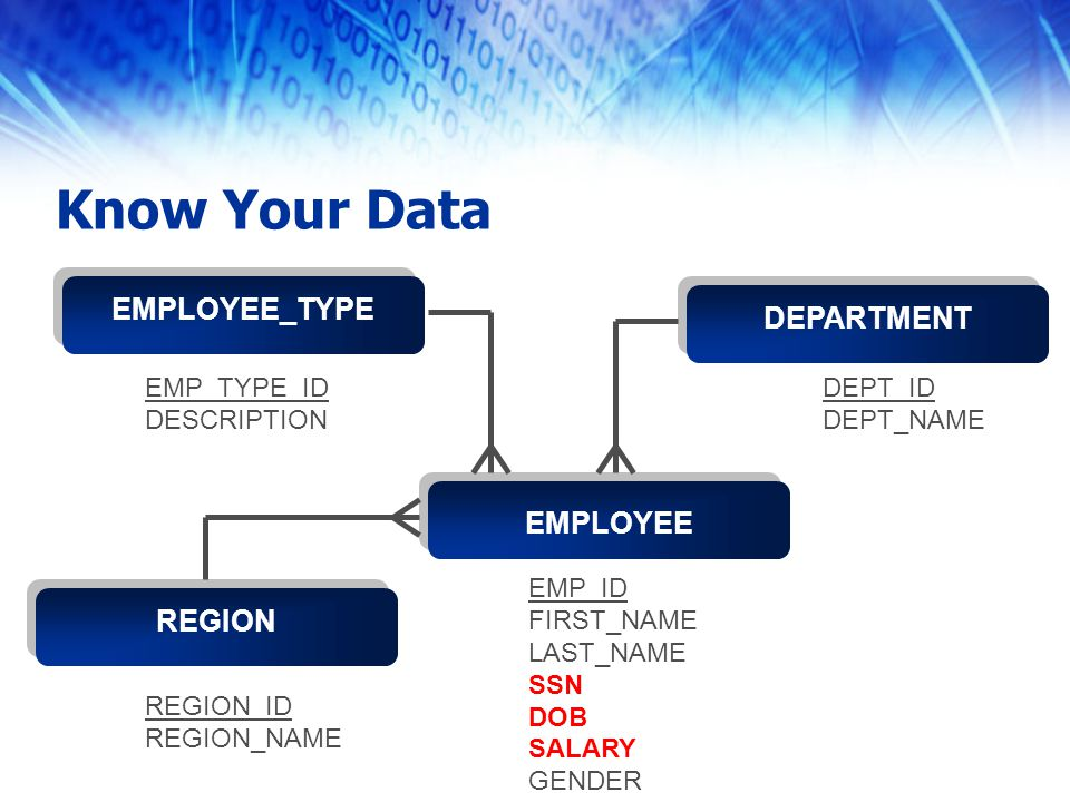 Know Your Data Text 1 EMPLOYEE EMP_TYPE DEP EMPLOYEE Text 1 REGION Text 1 DEPARTMENT Text 1 EMPLOYEE_TYPE EMP_ID FIRST_NAME LAST_NAME SSN DOB SALARY GENDER DEPT_ID DEPT_NAME REGION_ID REGION_NAME EMP_TYPE_ID DESCRIPTION