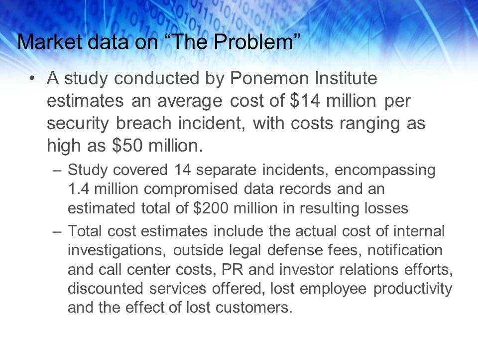 "Market data on ""The Problem"" A study conducted by Ponemon Institute estimates an average cost of $14 million per security breach incident, with costs"