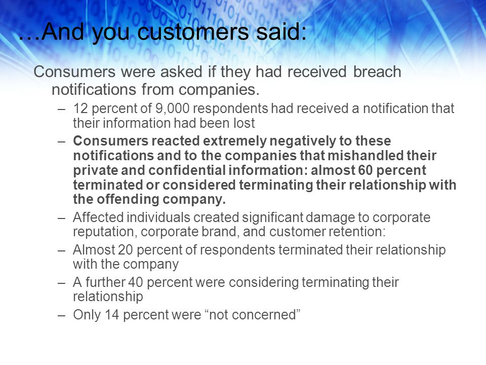 …And you customers said: Consumers were asked if they had received breach notifications from companies.