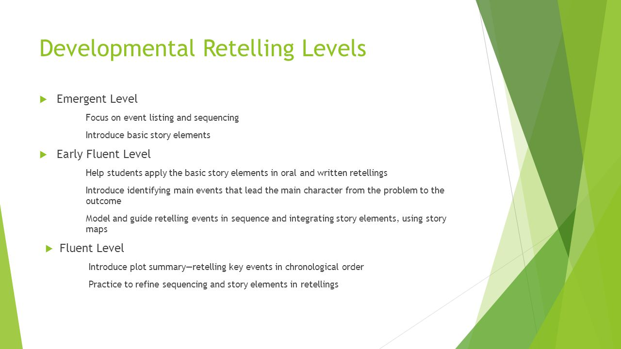 Developmental Retelling Levels  Emergent Level Focus on event listing and sequencing Introduce basic story elements  Early Fluent Level Help students apply the basic story elements in oral and written retellings Introduce identifying main events that lead the main character from the problem to the outcome Model and guide retelling events in sequence and integrating story elements, using story maps  Fluent Level Introduce plot summary—retelling key events in chronological order Practice to refine sequencing and story elements in retellings