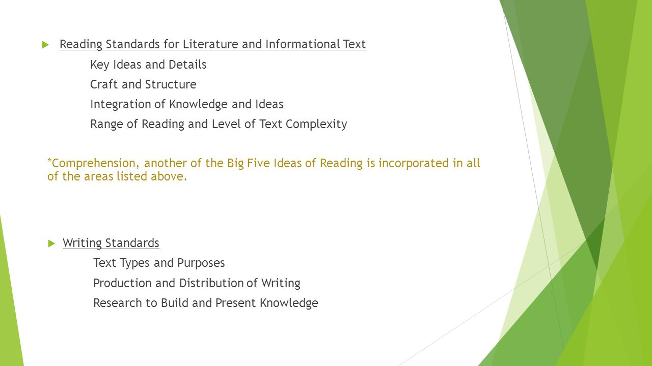  Reading Standards for Literature and Informational Text Key Ideas and Details Craft and Structure Integration of Knowledge and Ideas Range of Reading and Level of Text Complexity *Comprehension, another of the Big Five Ideas of Reading is incorporated in all of the areas listed above.