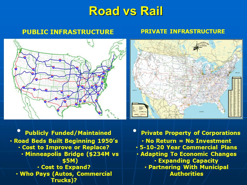 Road vs Rail PUBLIC INFRASTRUCTURE PRIVATE INFRASTRUCTURE Publicly Funded/Maintained Road Beds Built Beginning 1950's Cost to Improve or Replace.