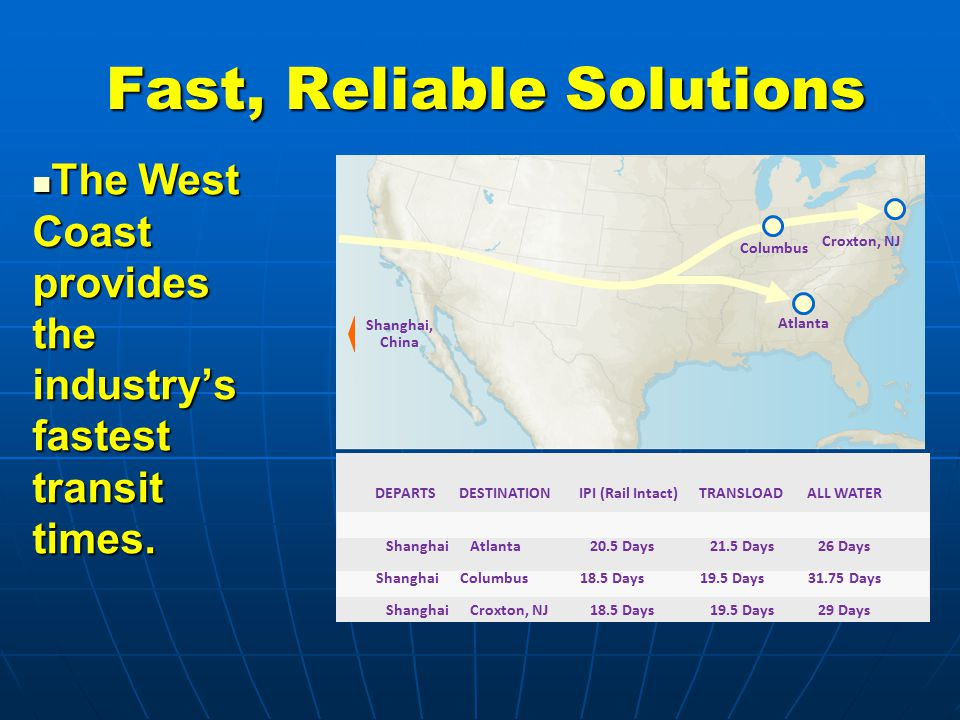 Fast, Reliable Solutions The West Coast provides the industry's fastest transit times.
