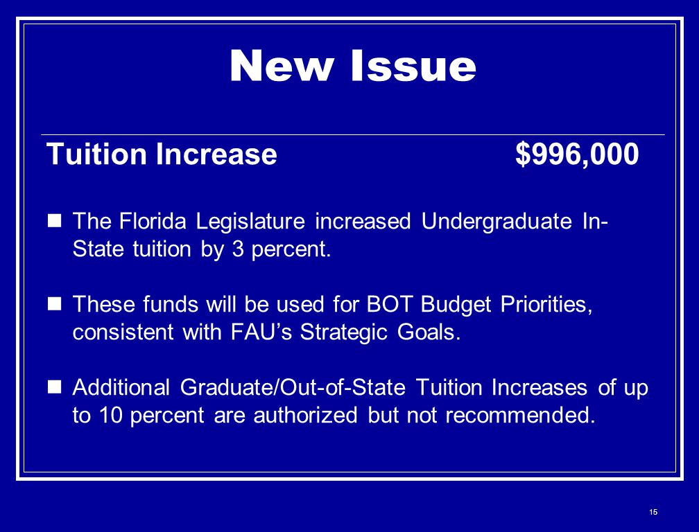 15 New Issue Tuition Increase $996,000 The Florida Legislature increased Undergraduate In- State tuition by 3 percent.