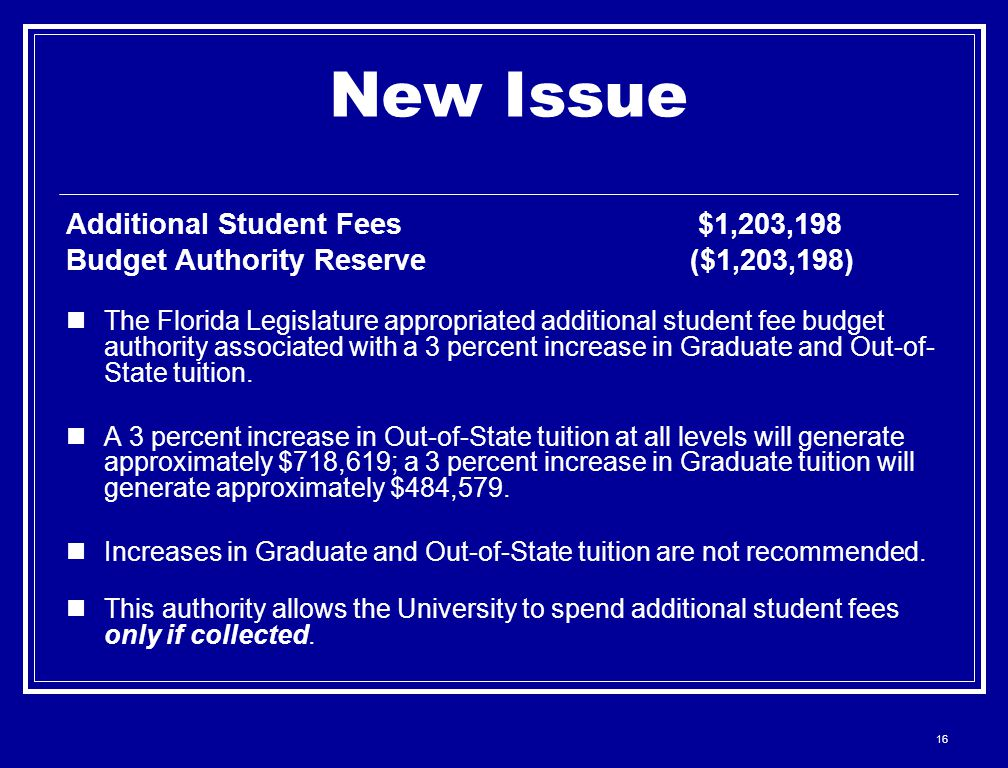 16 New Issue Additional Student Fees $1,203,198 Budget Authority Reserve ($1,203,198) The Florida Legislature appropriated additional student fee budg