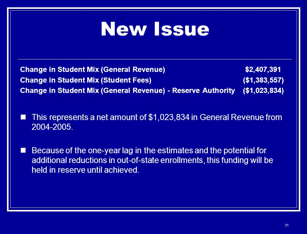 21 New Issue Change in Student Mix (General Revenue)$2,407,391 Change in Student Mix (Student Fees)($1,383,557) Change in Student Mix (General Revenue