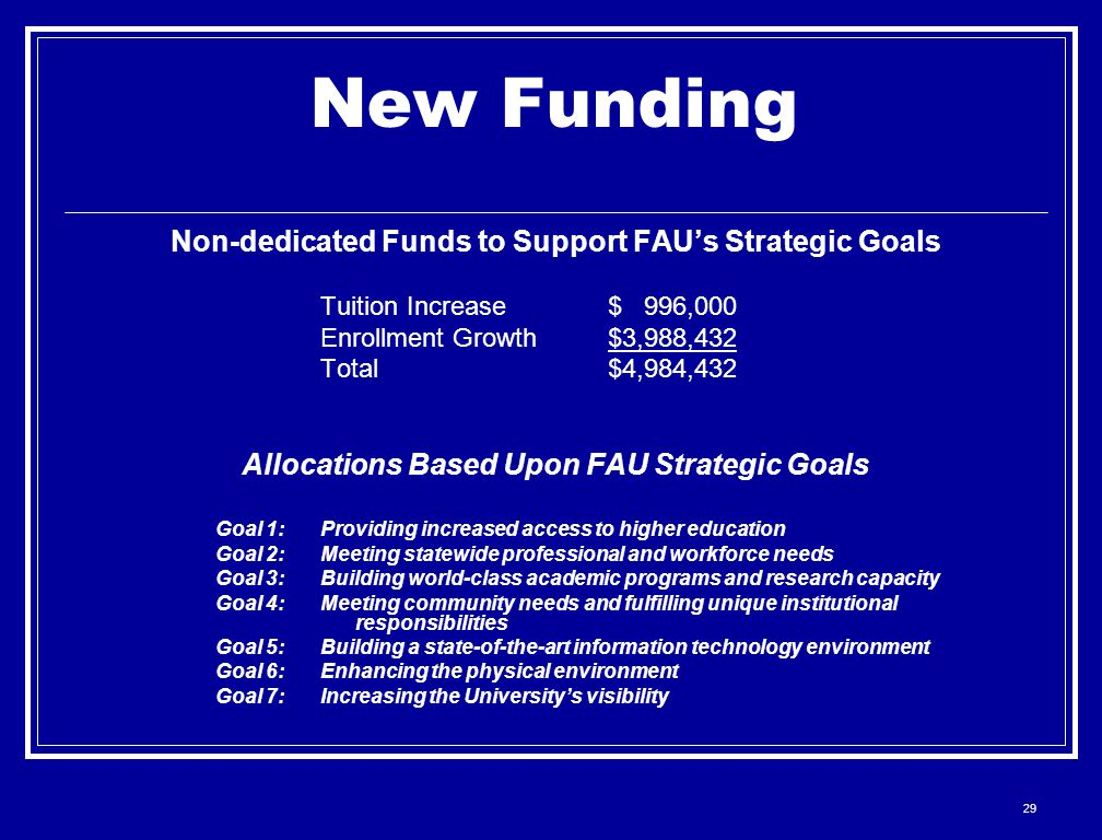 29 New Funding Non-dedicated Funds to Support FAU's Strategic Goals Tuition Increase $ 996,000 Enrollment Growth $3,988,432 Total $4,984,432 Allocatio