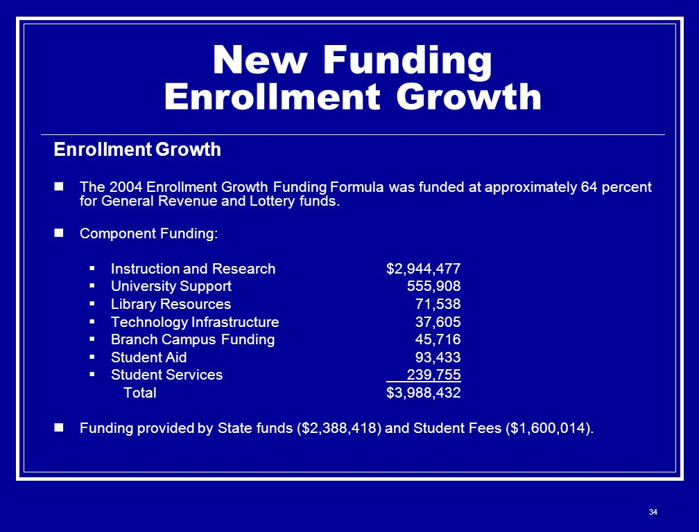 34 New Funding Enrollment Growth Enrollment Growth The 2004 Enrollment Growth Funding Formula was funded at approximately 64 percent for General Revenue and Lottery funds.