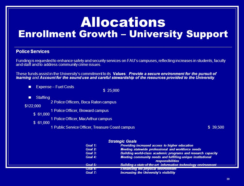 39 Allocations Enrollment Growth – University Support Police Services Funding is requested to enhance safety and security services on FAU's campuses, reflecting increases in students, faculty and staff and to address community crime issues.