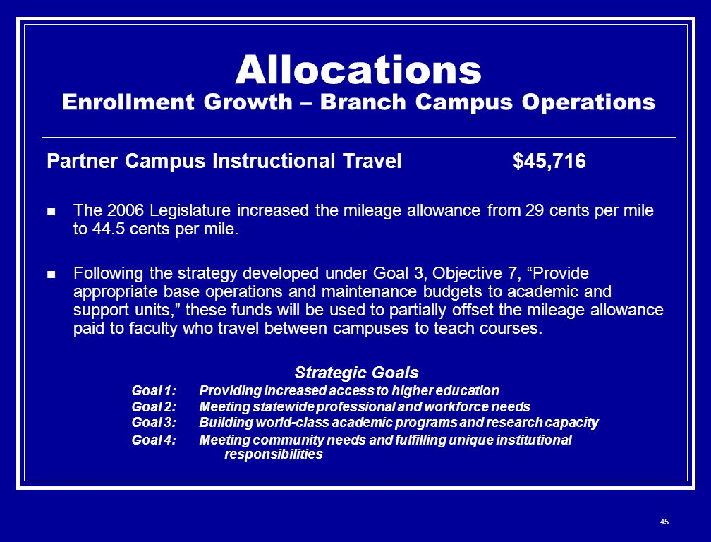45 Allocations Enrollment Growth – Branch Campus Operations Partner Campus Instructional Travel$45,716 The 2006 Legislature increased the mileage allo