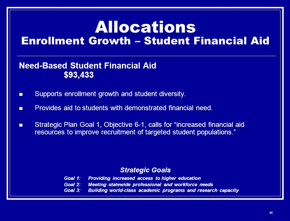 46 Allocations Enrollment Growth – Student Financial Aid Need-Based Student Financial Aid $93,433 Supports enrollment growth and student diversity.