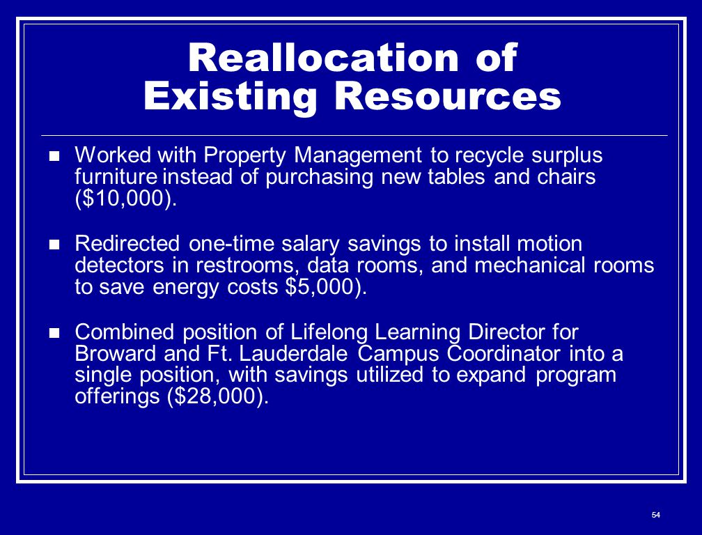 54 Reallocation of Existing Resources Worked with Property Management to recycle surplus furniture instead of purchasing new tables and chairs ($10,000).