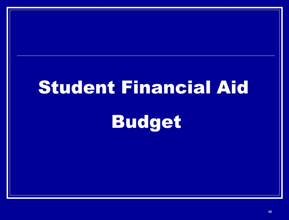 58 Student Financial Aid Budget
