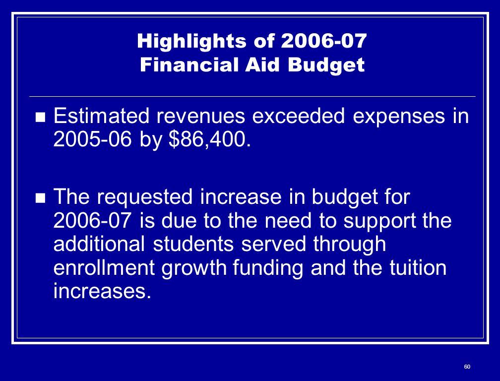 60 Highlights of 2006-07 Financial Aid Budget Estimated revenues exceeded expenses in 2005-06 by $86,400.