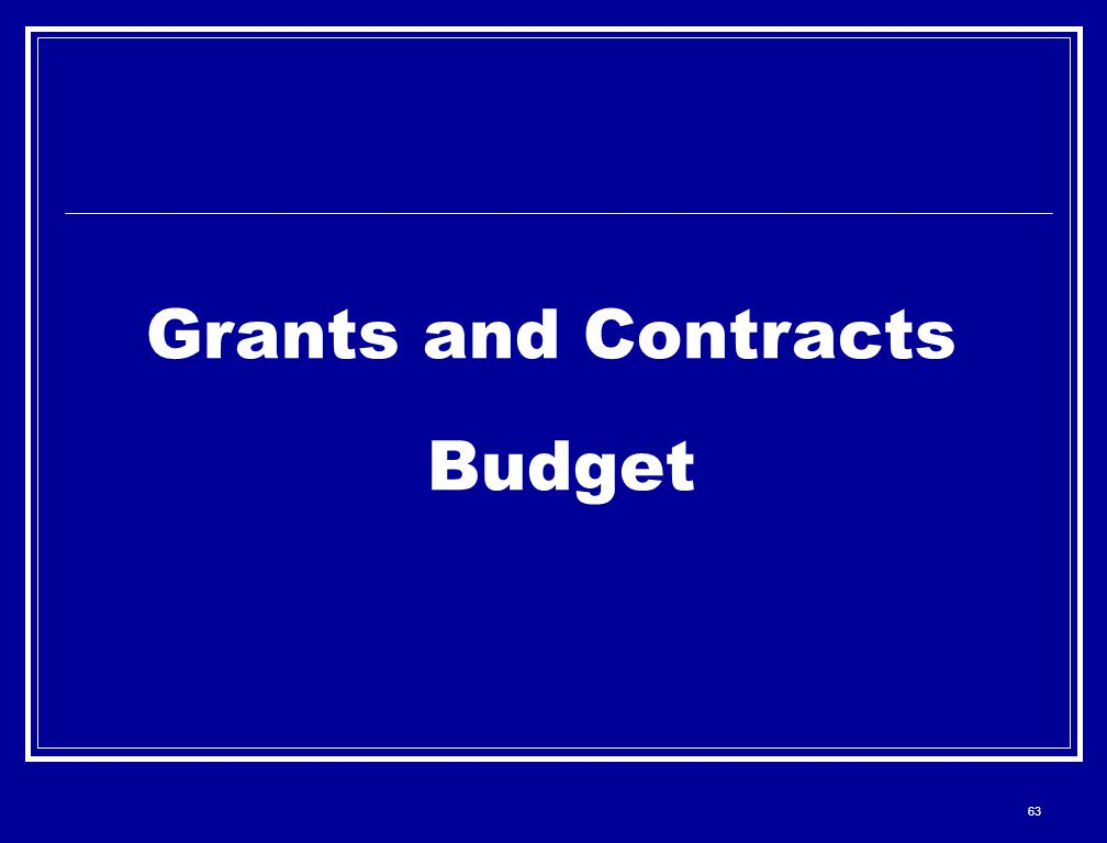 63 Grants and Contracts Budget