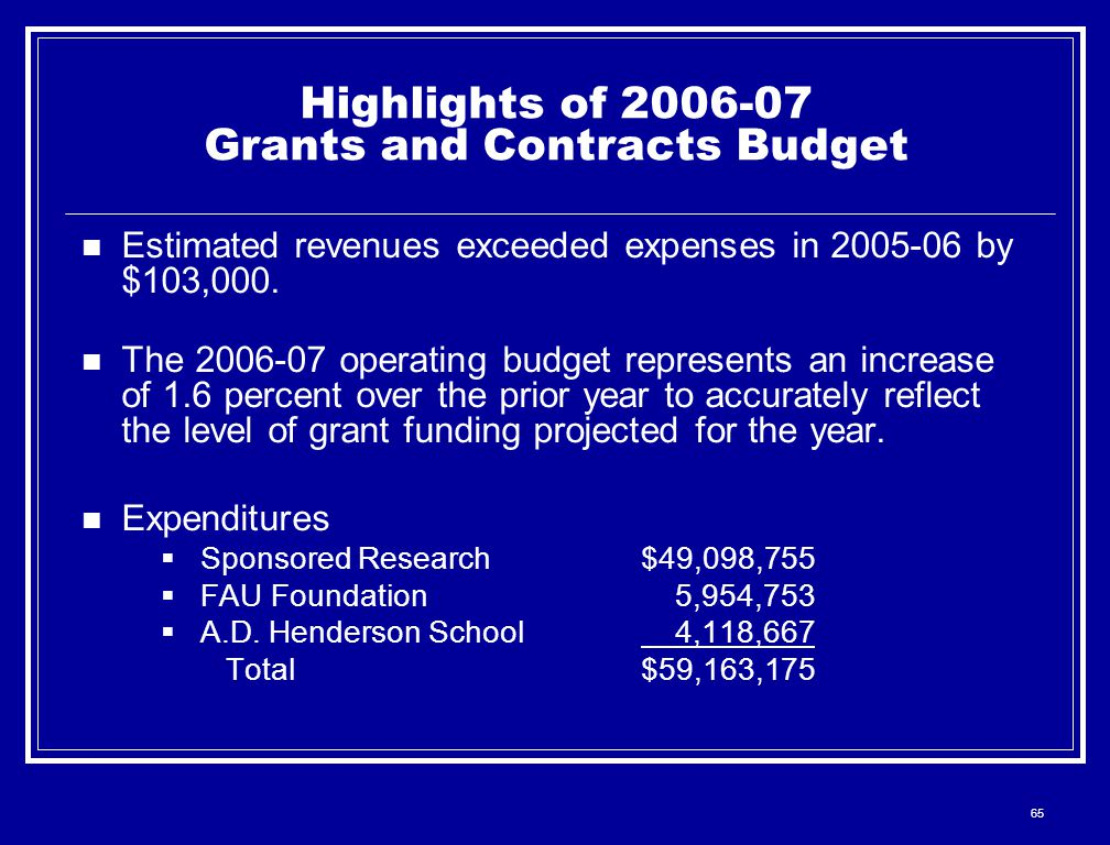 65 Highlights of 2006-07 Grants and Contracts Budget Estimated revenues exceeded expenses in 2005-06 by $103,000. The 2006-07 operating budget represe
