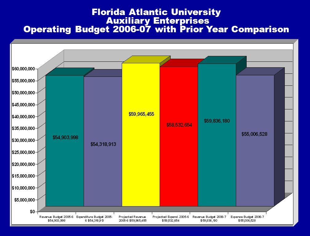 Florida Atlantic University Auxiliary Enterprises Operating Budget 2006-07 with Prior Year Comparison
