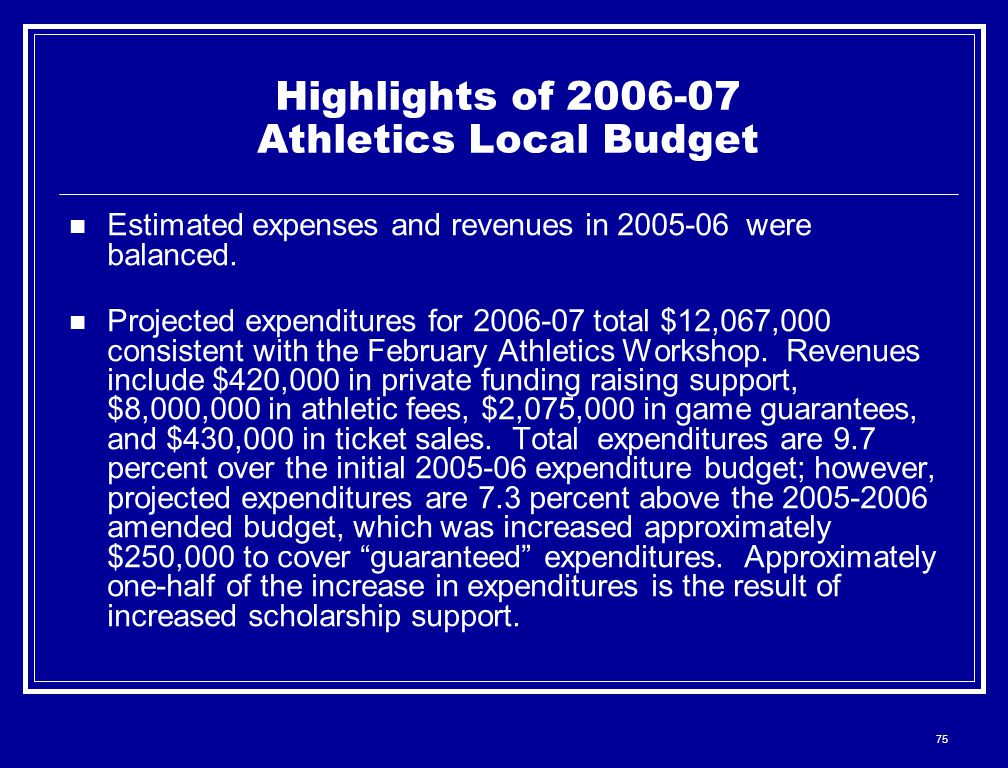 75 Highlights of 2006-07 Athletics Local Budget Estimated expenses and revenues in 2005-06 were balanced. Projected expenditures for 2006-07 total $12