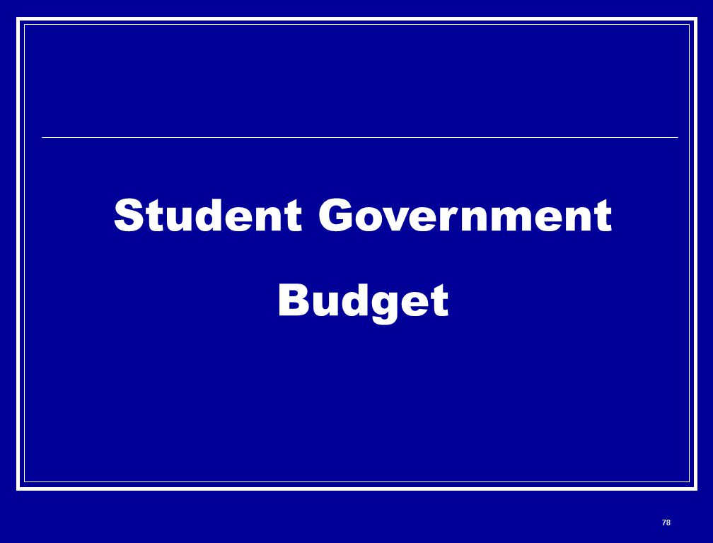 78 Student Government Budget