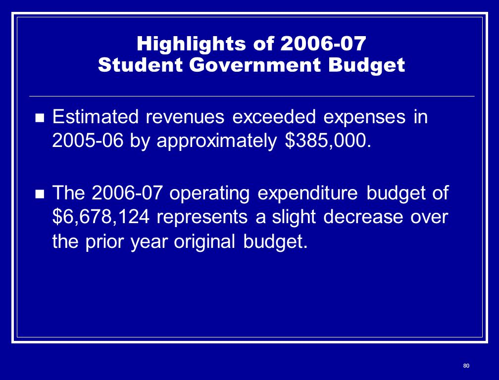 80 Highlights of 2006-07 Student Government Budget Estimated revenues exceeded expenses in 2005-06 by approximately $385,000. The 2006-07 operating ex