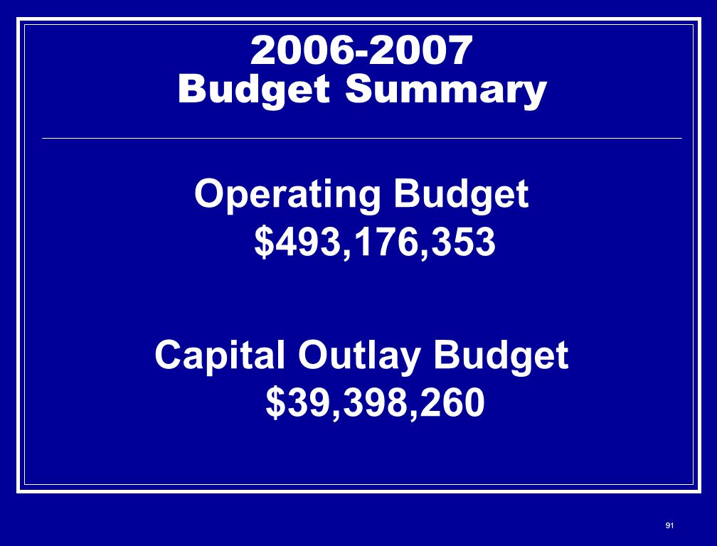 91 2006-2007 Budget Summary Operating Budget $493,176,353 Capital Outlay Budget $39,398,260