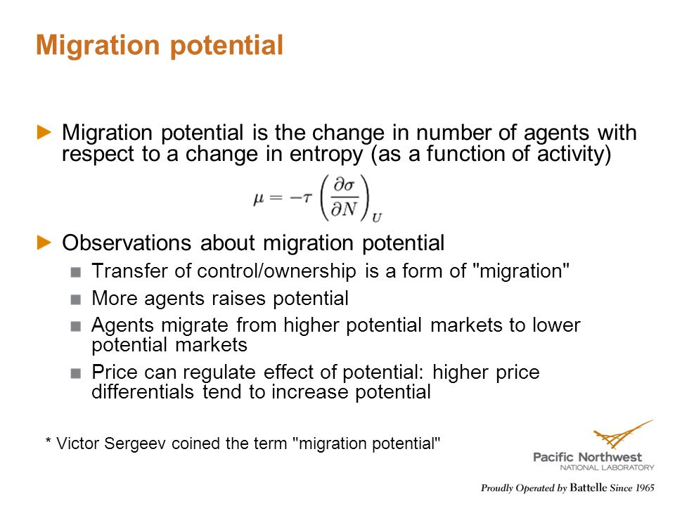 Migration potential Migration potential is the change in number of agents with respect to a change in entropy (as a function of activity) Observations about migration potential Transfer of control/ownership is a form of migration More agents raises potential Agents migrate from higher potential markets to lower potential markets Price can regulate effect of potential: higher price differentials tend to increase potential * Victor Sergeev coined the term migration potential