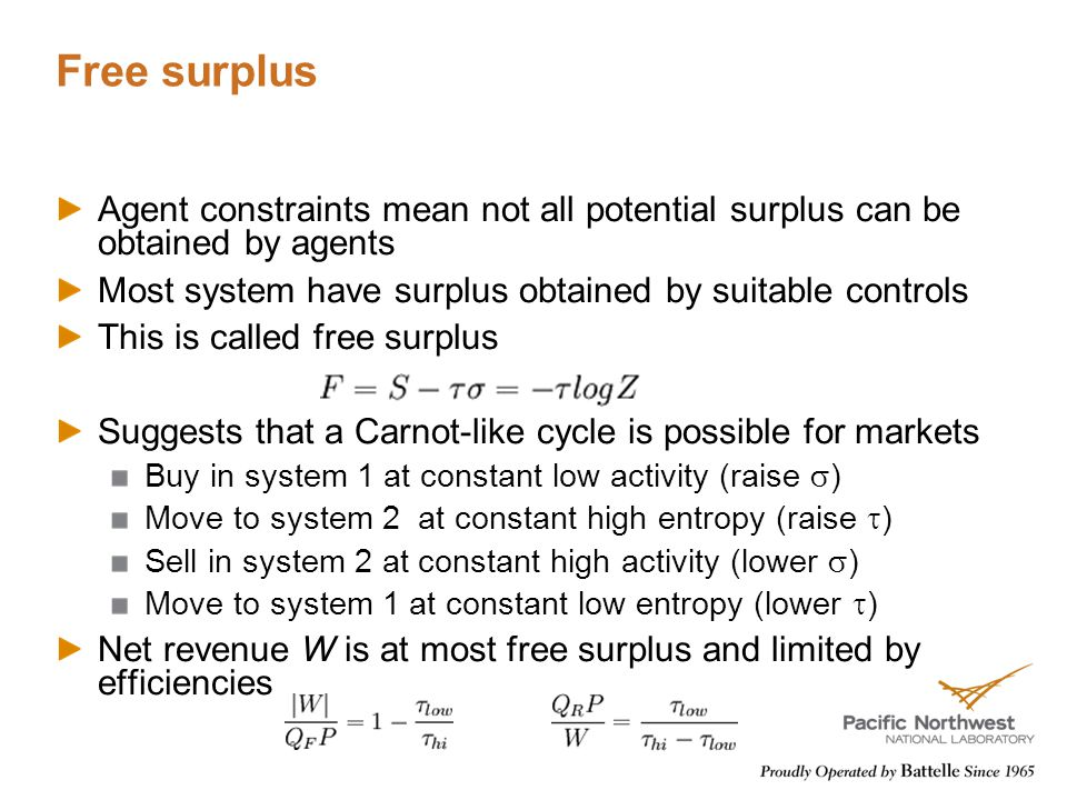 Free surplus Agent constraints mean not all potential surplus can be obtained by agents Most system have surplus obtained by suitable controls This is called free surplus Suggests that a Carnot-like cycle is possible for markets Buy in system 1 at constant low activity (raise  ) Move to system 2 at constant high entropy (raise  ) Sell in system 2 at constant high activity (lower  ) Move to system 1 at constant low entropy (lower  ) Net revenue W is at most free surplus and limited by efficiencies