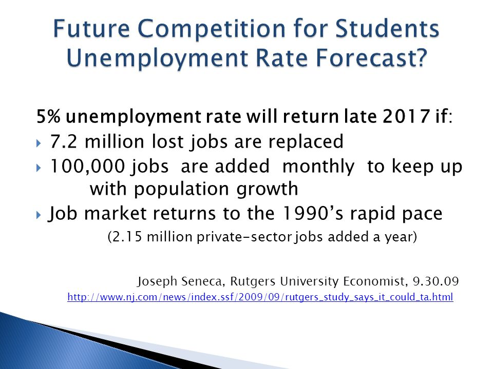 5% unemployment rate will return late 2017 if:  7.2 million lost jobs are replaced  100,000 jobs are added monthly to keep up with population growth  Job market returns to the 1990's rapid pace (2.15 million private-sector jobs added a year) Joseph Seneca, Rutgers University Economist, 9.30.09 http://www.nj.com/news/index.ssf/2009/09/rutgers_study_says_it_could_ta.html http://www.nj.com/news/index.ssf/2009/09/rutgers_study_says_it_could_ta.html