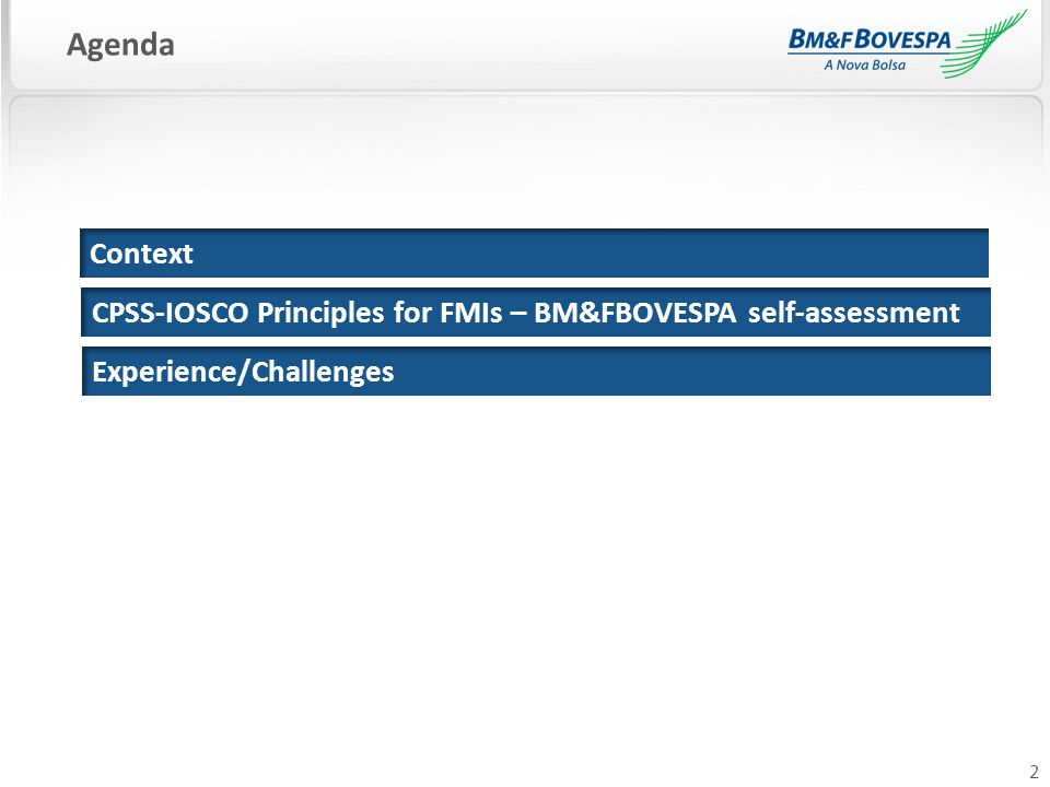 2 Context Agenda Experience/Challenges CPSS-IOSCO Principles for FMIs – BM&FBOVESPA self-assessment