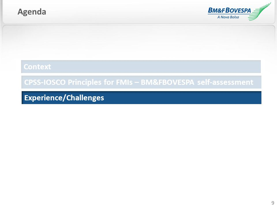 9 Agenda Context Experience/Challenges CPSS-IOSCO Principles for FMIs – BM&FBOVESPA self-assessment