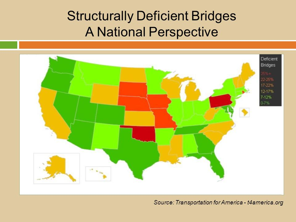 Structurally Deficient Bridges A National Perspective Source: Transportation for America - t4america.org