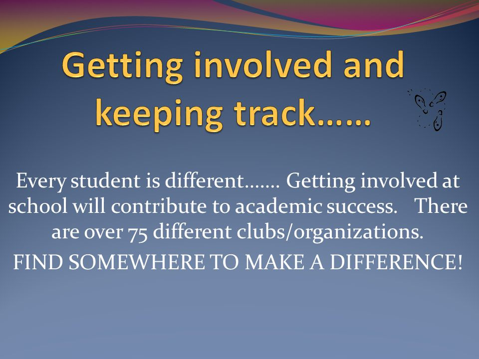Every student is different……. Getting involved at school will contribute to academic success.