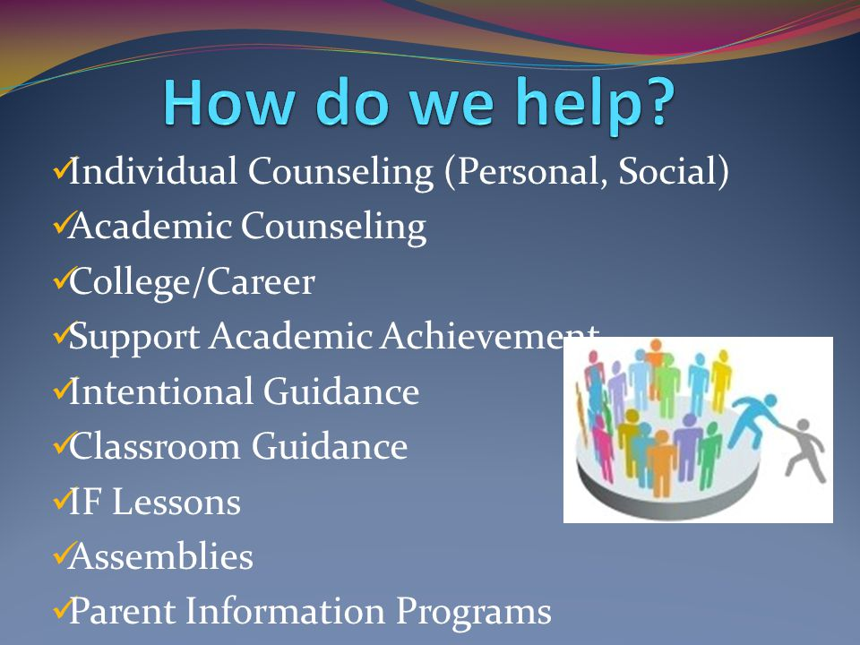 Individual Counseling (Personal, Social) Academic Counseling College/Career Support Academic Achievement Intentional Guidance Classroom Guidance IF Lessons Assemblies Parent Information Programs